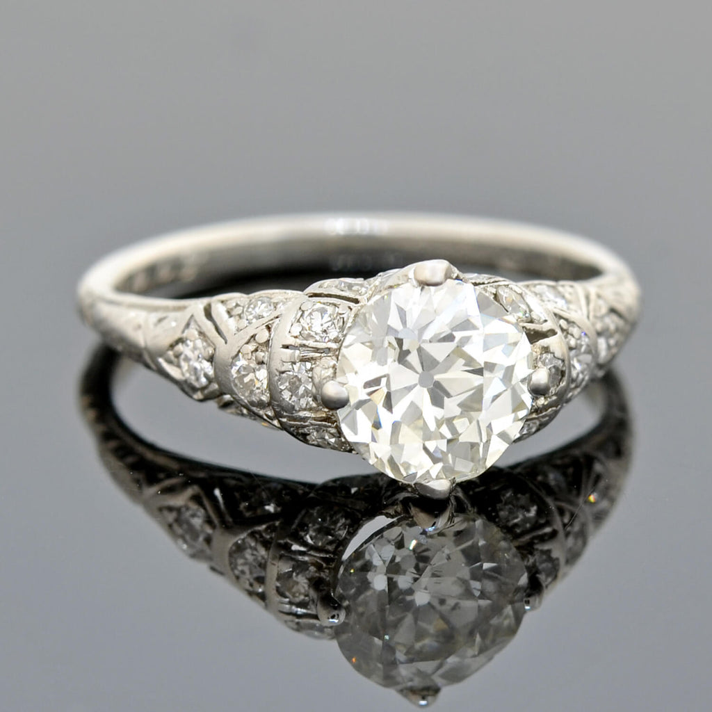 Art Deco Platinum Diamond Engagement Ring 1.44ct