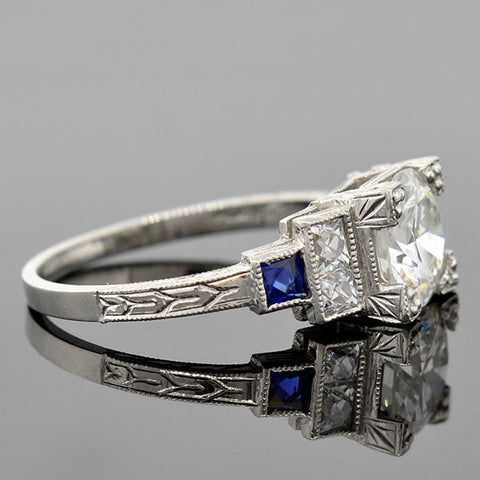Art Deco  Platinum Diamond & Sapphire Ring 1.47ct