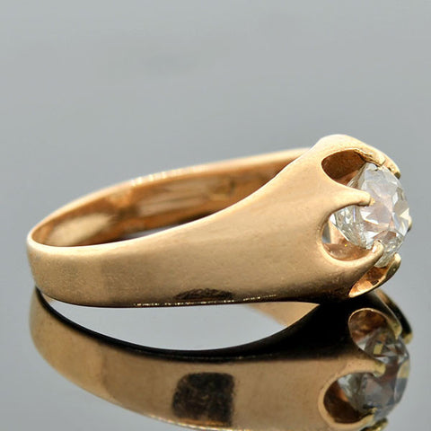 Victorian 14kt Mine Cut Diamond Belcher Set Ring 0.60ct