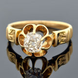 Victorian 14kt Gold Enameled Diamond Engagement Ring 0.60ct