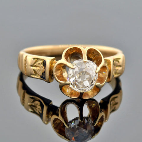 Victorian 14kt Enameled Diamond Engagement Ring .60ct
