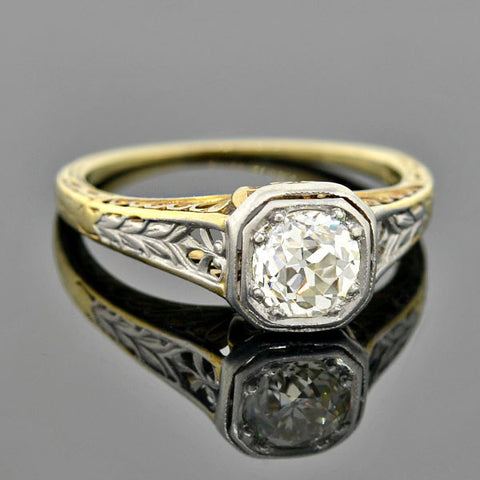 Edwardian Platinum/14kt Diamond Engagement Ring 0.70ct