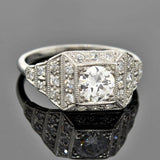 Art Deco Platinum Step-Up Diamond Engagement Ring 0.80ct