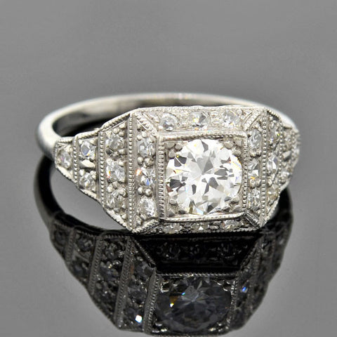 Art Deco Filigree Platinum & Diamond 2-Stone Ring 1.98 ctw