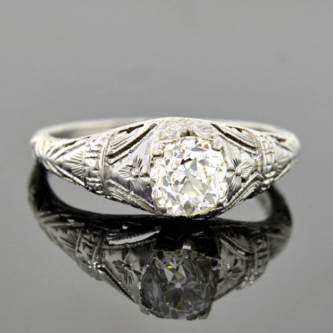 Art Deco 18kt Mine Cut Diamond Engagement Ring .75ct