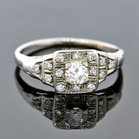 Art Deco 18kt Diamond & Onyx Engagment Ring .15ct