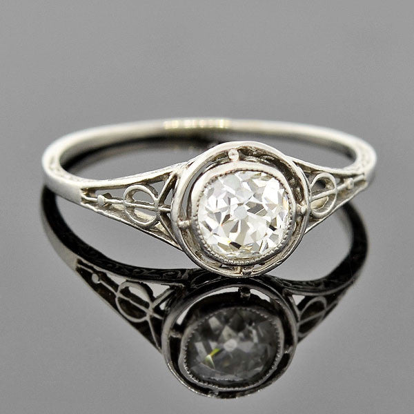 Edwardian Platinum Mine Cut Diamond Engagement Ring 0.80ctw