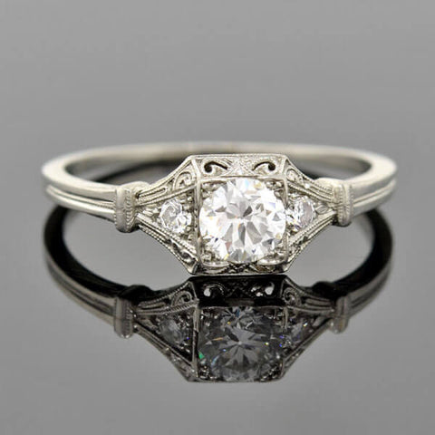 Art Deco Platinum Diamond Engagement Ring .50ct