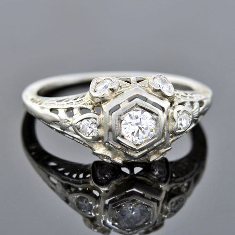 Art Deco 18kt Heart Motif Diamond Engagement Ring .20ct