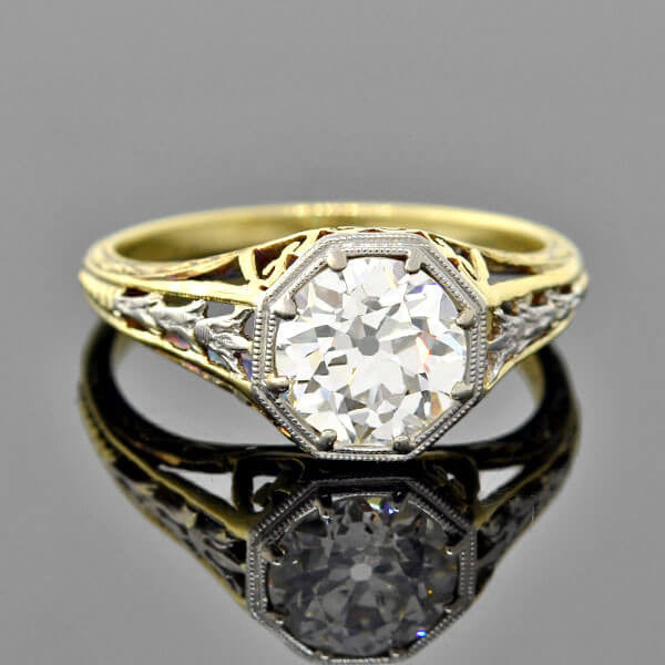 Edwardian Platinum/14kt Mixed Metals Diamond Engagement Ring 1.51ct