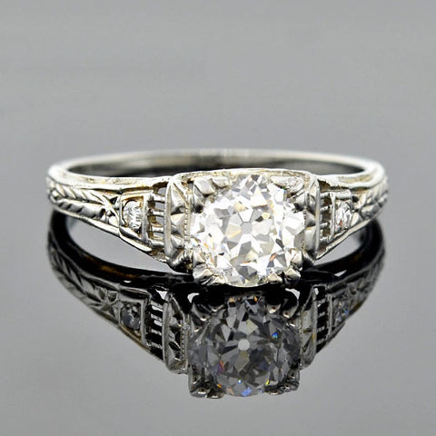 Art Deco 18K Diamond Engagement Ring 0.95ct