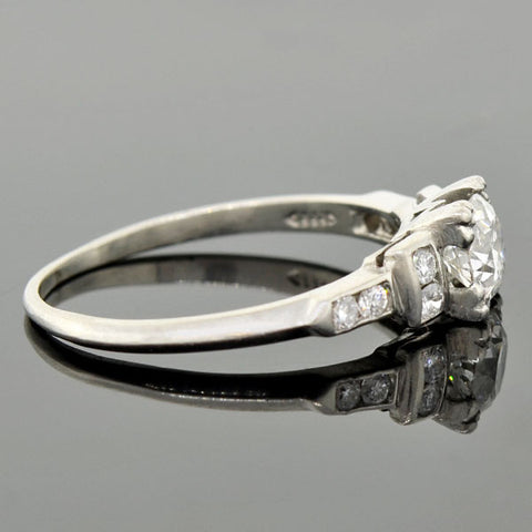 Art Deco Platinum Diamond Engagement Ring 0.75ct