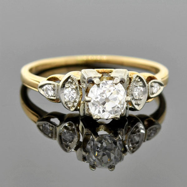 Early Retro 14kt Mixed Metals Diamond Engagement Ring .60ct