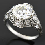 Art Deco Floral Motif Platinum Diamond Engagement Ring 2.53ct