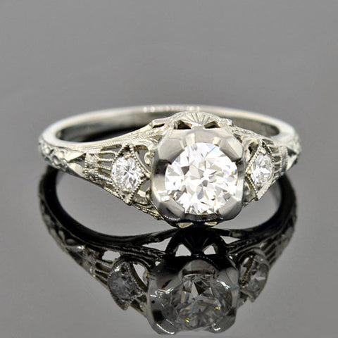 Art Deco 18kt Diamond Engagement Ring 0.70ct