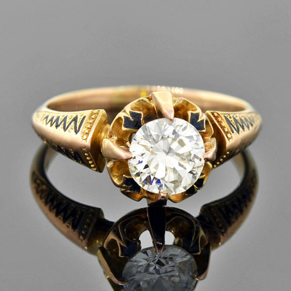 Victorian 14kt Black Tracery Enamel Diamond Ring 1.00ct