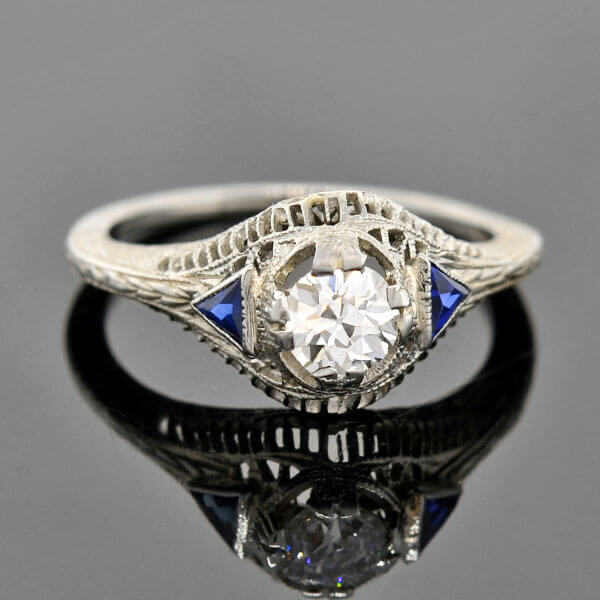 Art Deco 18kt Diamond & Sapphire Engagement Ring .38ct