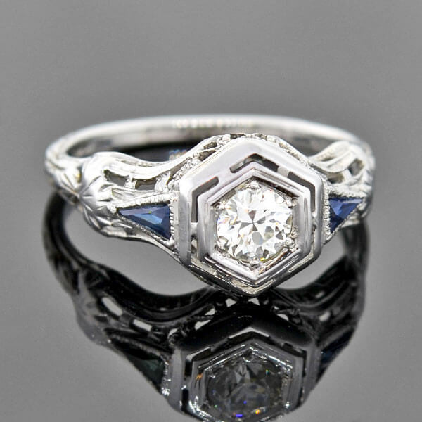 Art Deco 18kt Diamond Sapphire Engage Ring 0.37ct