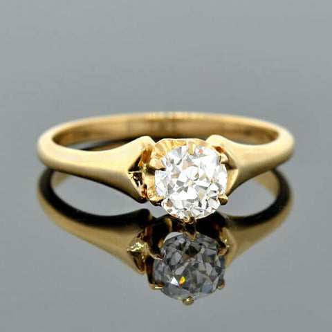 Late Victorian 14kt Diamond Solitaire Engagement Ring 0.62ct
