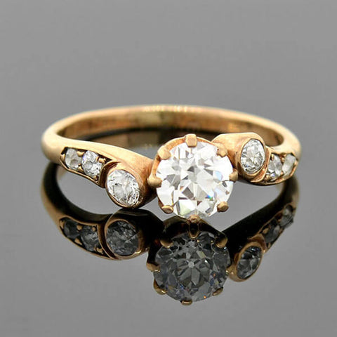 Late Victorian 14kt Bypass Diamond Engagement Ring 0.70ct Center