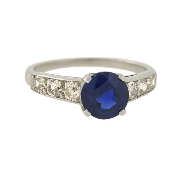 Art Deco Platinum Sapphire Diamond Ring 1.45ct