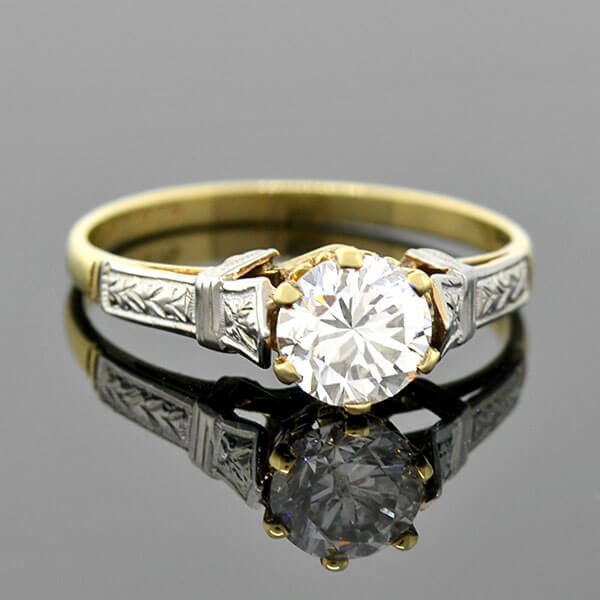 Art Deco 10kt Mixed Metals Diamond Engagement Ring .87ct