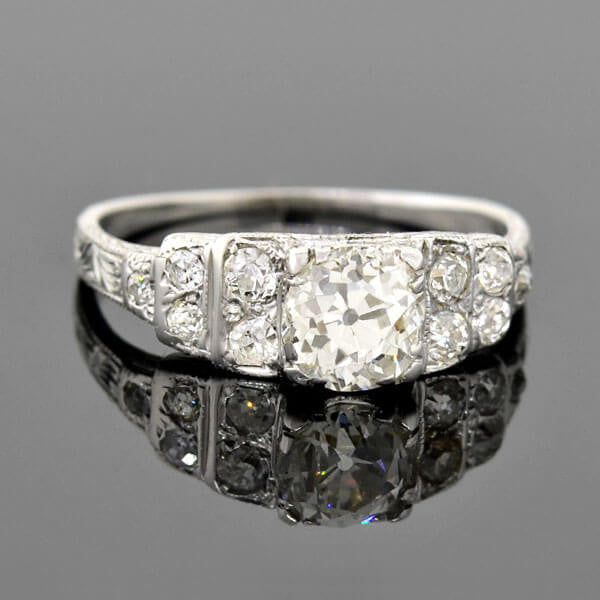 "Art Deco 18kt ""Step Up"" Diamond Engagement Ring 0.88ct"
