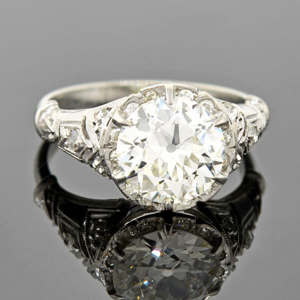 Art Deco Platinum Diamond Engagement Ring 2.33ct