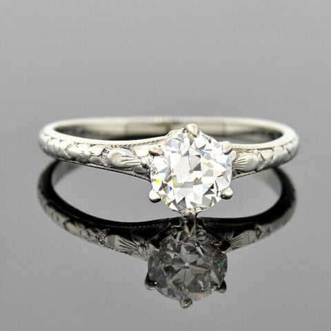 Edwardian Platinum Diamond Engagement Ring 0.83ct