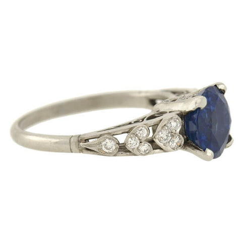 Vintage Platinum Sapphire & Diamond Heart Motif Ring 2.90ct