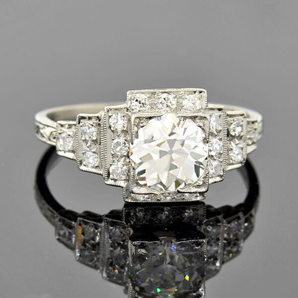 Art Deco Platinum Step-Up Diamond Engagement Ring 1.26ct
