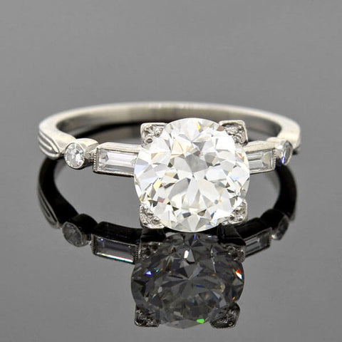Late Art Deco Platinum Diamond Engagement Ring 2.19ct