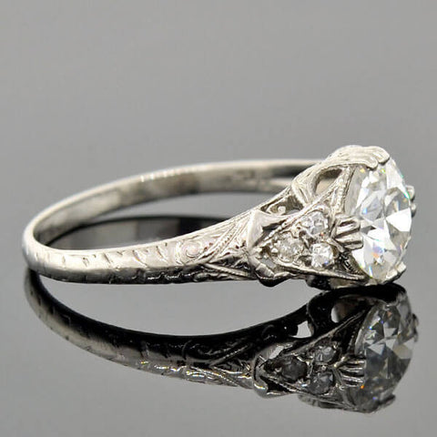 Art Deco Platinum Diamond Engagement Ring 1.06ct