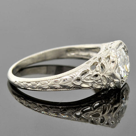Art Deco Platinum Diamond Filigree Engagement Ring .72ct
