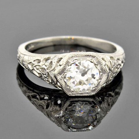 Art Deco 18kt Rock Quartz Crystal & Diamond Filigree Ring