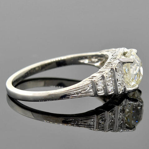 "Art Deco Platinum ""Step-Up"" Diamond Engagement Ring 1.78ct"