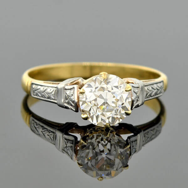Art Deco 18kt Mixed Metals Diamond Engagement Ring 1.26ct