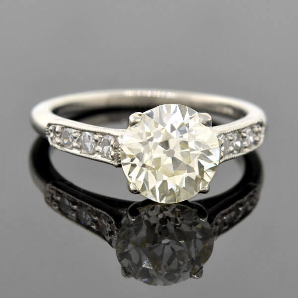 Art Deco Style Platinum Diamond Engagement Ring 2.15ct