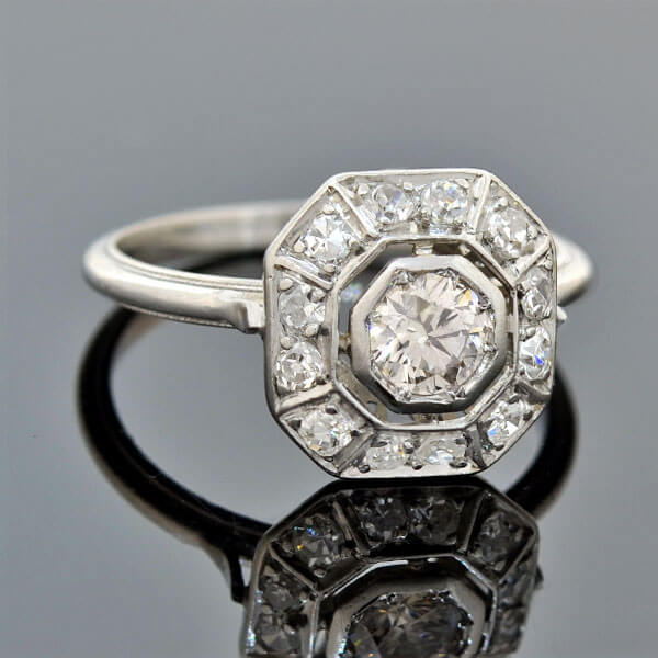 Art Deco Diamond Octagonal Centerpiece Ring 0.45ctw