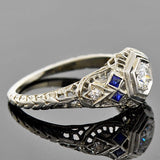 Art Deco 18kt Diamond & Sapphire Engagement Ring .18ct