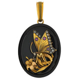 Victorian 15kt Onyx Raised Butterfly Locket w/ Diamonds