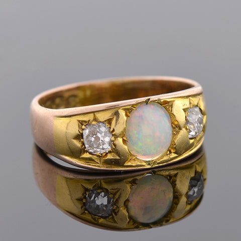 Victorian 9kt Gold Opal & Diamond Gypsy Ring