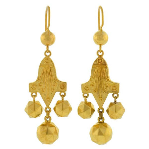 Victorian 14kt Etruscan Dangling Gold Earrings