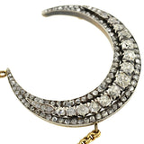Victorian 18kt Sterling Topped Diamond Crescent Necklace 3ctw
