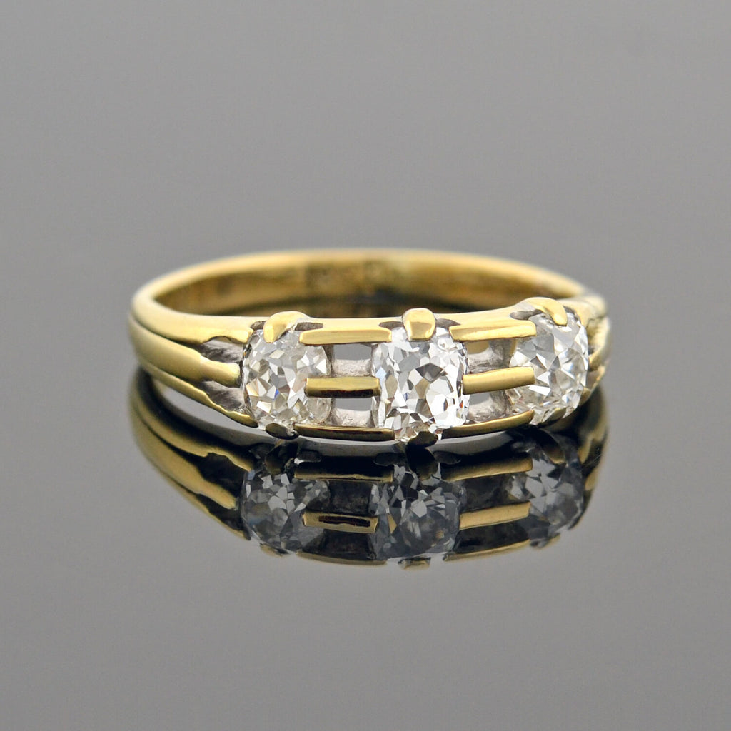 Edwardian 18kt Cushion Cut Diamond 3-Stone Ring 0.75ctw