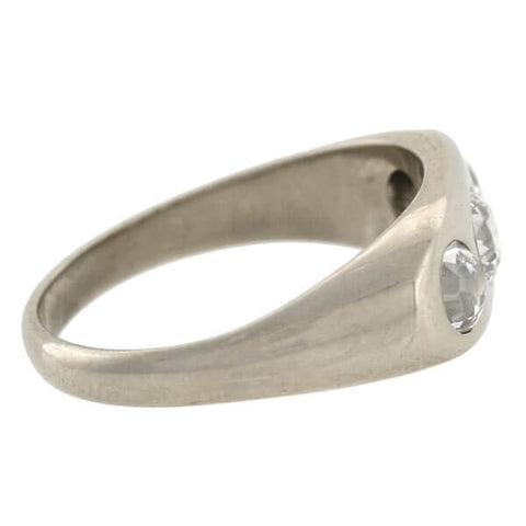 Art Deco 14kt Mine Cut Diamond Gypsy Ring .90ctw