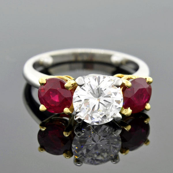 Estate Platinum 18kt Diamond & Ruby Ring 1.58ct