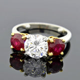 Estate Platinum 18kt Diamond & Ruby Ring 1.58ct- On Hold