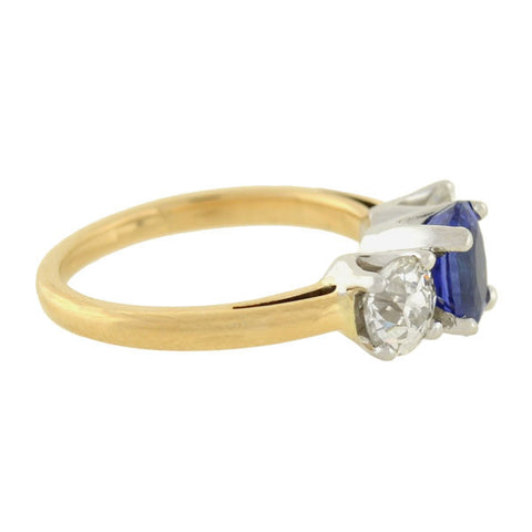 Art Deco 18kt Mixed Metals Sapphire & Diamond 3-Stone Ring
