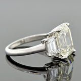 Estate Platinum 3-Stone Emerald Cut Diamond Engagement Ring 4.13ct